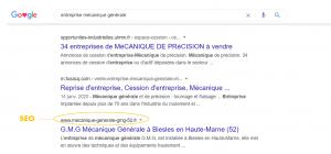 Affichage recherche naturelle Google