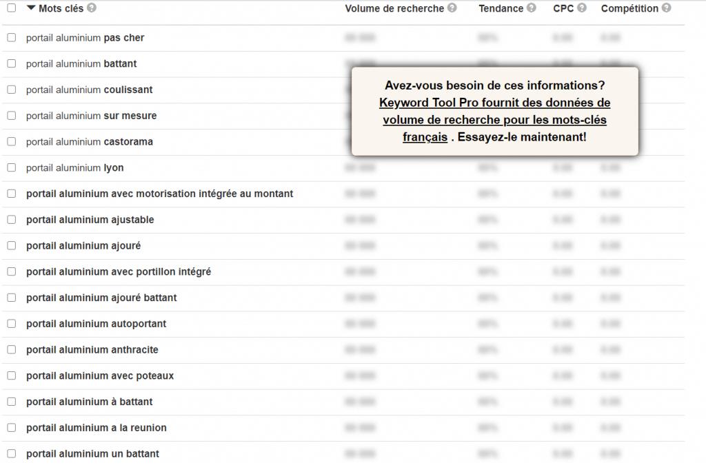 Recherche de mots clé avec keywordtools