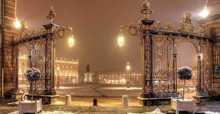 SEO Anancy, place Stanislas sous la neige