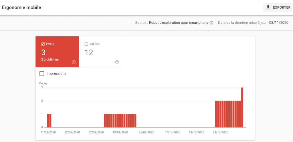 Rapport Search Console mobiles